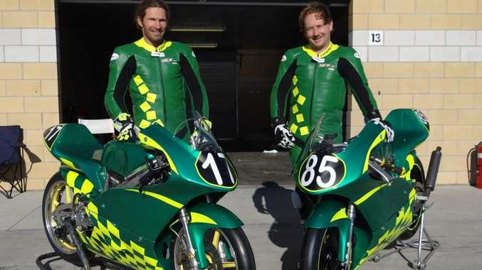Clint Clarke and teammate jacob Willard at the Tasmanian Motorcycle Club's Tasmanian State Championships last month.