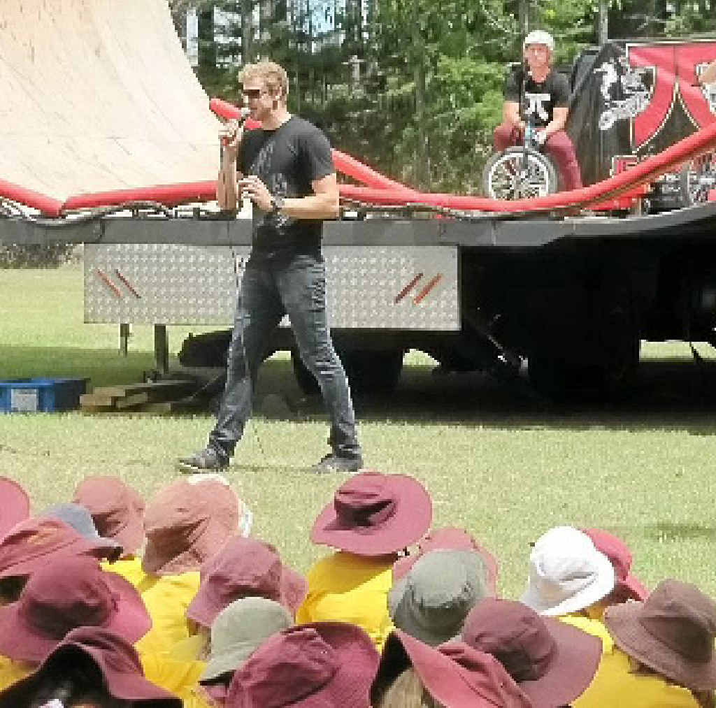 MC Dave delivers an anti-bullying message to Monkland, Kia Ora and Gympie Special School students.