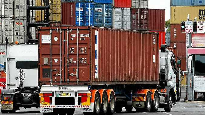 NEW LEVY: Container trucks arrive at Port Botany's maritime dock, a new bill will see the port privatised and a levy on drivers.