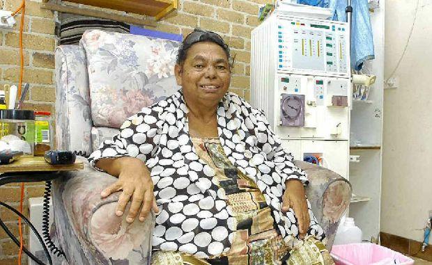 EDUCATOR: Elder Patsy Bunjulahm Nagas on her home dialysis machine.
