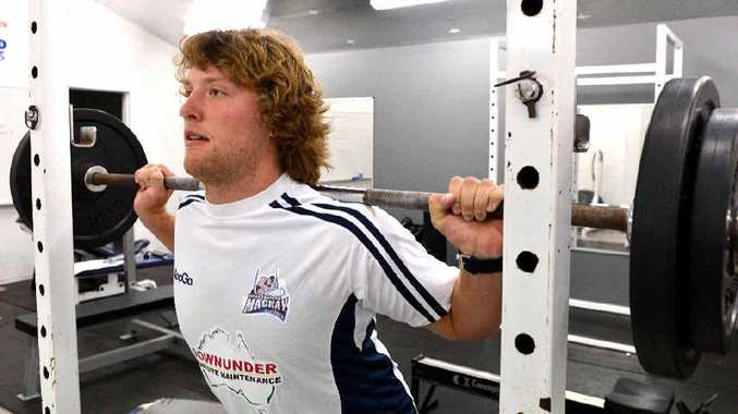 Storm under-20 forward Karl Davies tries out the Cutters weights ahead of pre-season training.