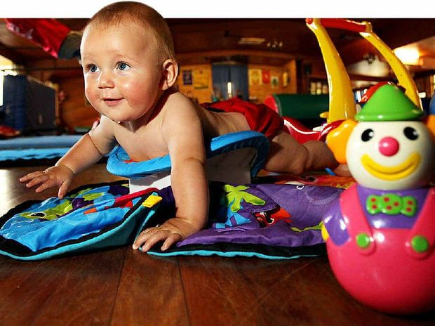 Six-and-a-half-month-old Horizen Earle has his first session at Baby Gym at Buderim.