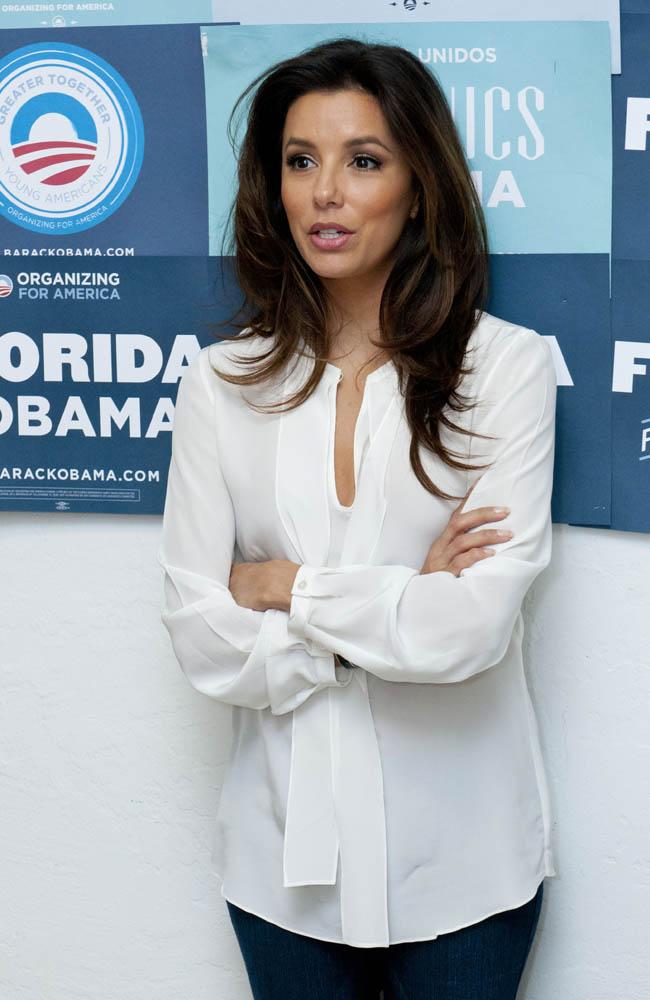 Eva Longoria campaigning for Obama