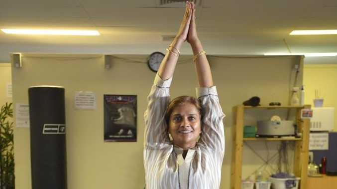 Yoga guru Pushpa Bakshi in the Natrajasan pose.