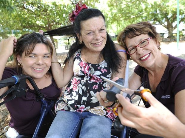 HAIR LOSS: Jasmin Robertson and her friend Rosemary Whiting will be cutting their hair in support of Jasmin's mother Carmel Woods who has cancer. Photo: Mike Knott / NewsMail