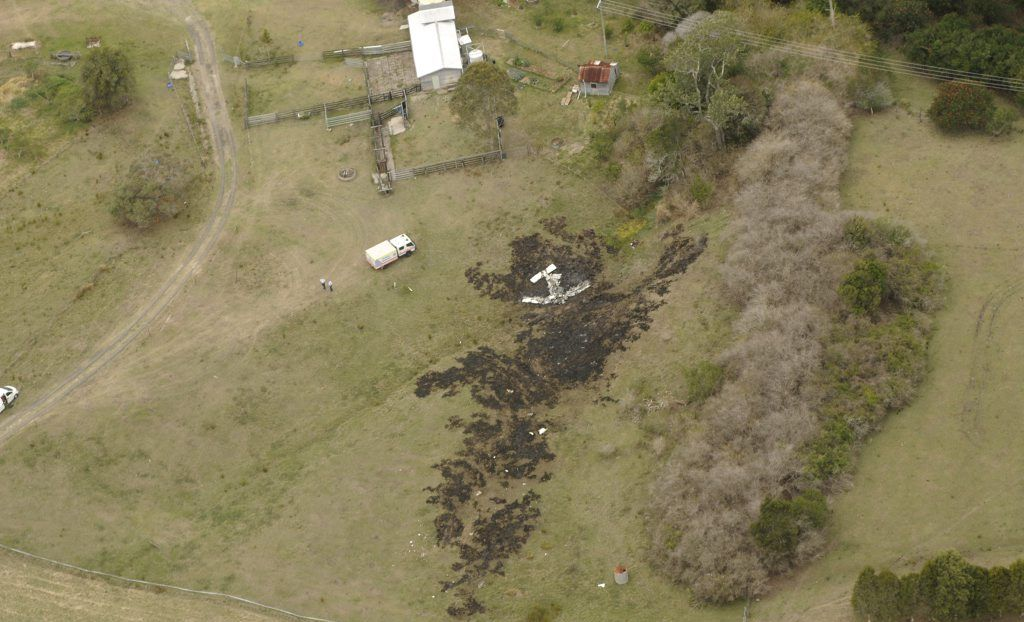 An aerial photo of the scene of a light airplane crash at South Gundurimba, south of Lismore, where two people have died. Photo: Doug Eaton / The Northern