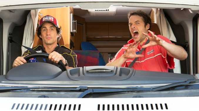 Andy Lee, left, and Hamish Blake pictured for their TV series Hamish & Andy's Caravan of Courage: Australia vs New Zealand.
