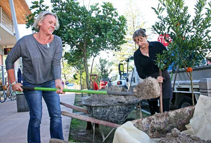 Annika Kelly of Finders Keepers and Elanor Howe of Raw Energy Peregian planting fruit trees in Pergegian as part of the Sunshine Coast ecoBiz program.