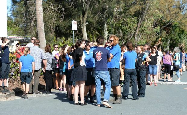 Staff and visitors from UnderWater World were evacuated after a alarm sounded at the Mooloolaba business. Photo:Warren Lynam / Sunshine Coast Daily