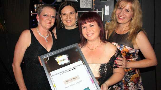 Retail, Specialist Services - Small: Daze & Nites Lingerie, Coral Brown, left, Inger Myatt, Julie Simon-Green and Karena Dunn at the Sunshine Coast Business Awards 2012