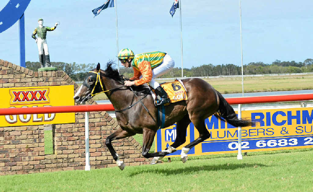SECOND WINNER: Mini Delago, ridden by Ben Looker, completes a winning double for Lismore trainer Peter Youngberry by taking out the Slipway Hotel Movember Benchmark 65 Handicap (1300m) at the Ballina TAB meeting yesterday.