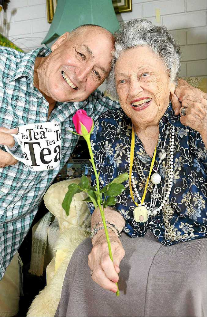 Mavis Langford celebrates her 99th birthday with her son John at her Caloundra home.