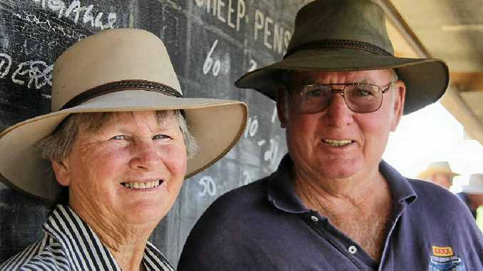 VENDORS VISIT: Terry and Evelyn Conway travelled from Kingaroy to sell some sheep last week.