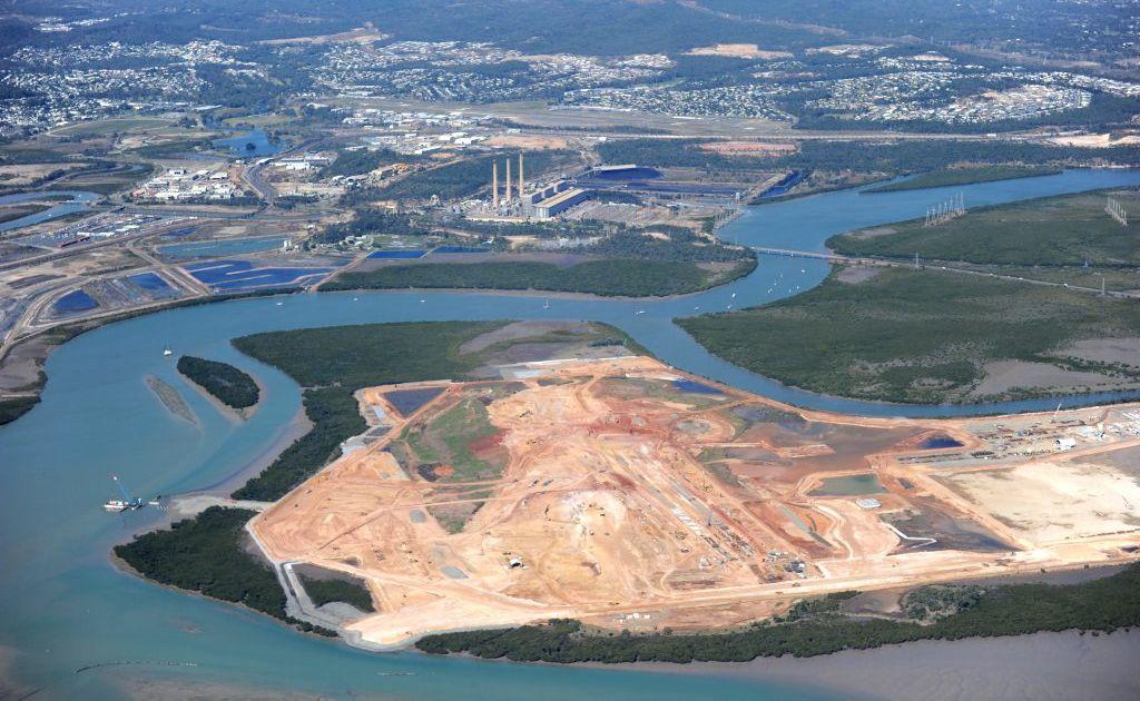 An aerial view of Wiggins Island Coal Terminal, Gladstone.