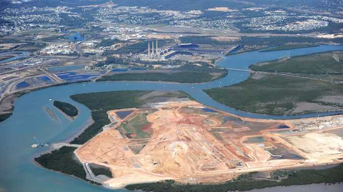 An aerial view of Wiggins Island Coal Terminal, Gladstone.