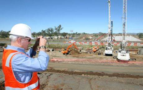 Gracemere Industrial Access project, project manager Charlie Lloyd-Jones watches on as work progesses on the overpass.Photo Chris Ison / The Morning Bulletin.