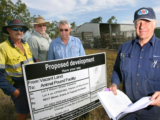 Kawana businessmen Garry Parlor, Phil Denovan, Paul Thompson, and Simon Walford have their say about a proposed plan to build a new Council animal pound on Waurn Street. Photo: Chris Ison / The Morning Bulletin