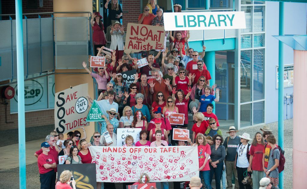 One hundred students protested proposed budget cuts to arts courses in TAFEs at Coffs Harbour Education Campus. Photo: Rob Wright/ The Coffs Coast Advocate