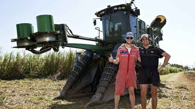 Hamish Blake and Andy Lee pictured during the Australian leg of their road trip for the TV series Hamish & Andy's Caravan of Courage: Australia vs New Zealand.