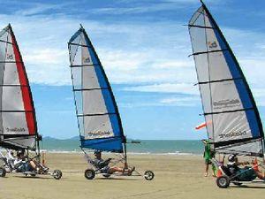 Families enjoy sailing along Cape Hillsborough beach