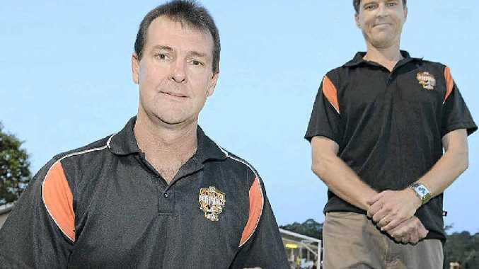 New Buderim coach Warren Crickmore and reserve-grade mentor Craig Williams.