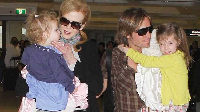 Nicole Kidman with Keith Urban and their children Sunday Rose and Faith Margaret Urban.
