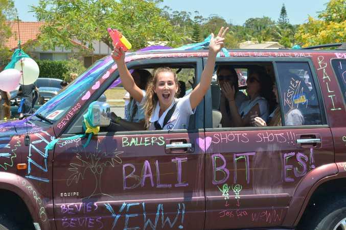 Mountain Creek State High year 12 students leav school and celebrate big time. Photo: John McCutcheon / Sunshine Coast Daily