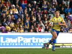 Parramatta fullback Jarryd Hayne with the ball in the Round 20 National Rugby League clash against the Melbourne Storm.