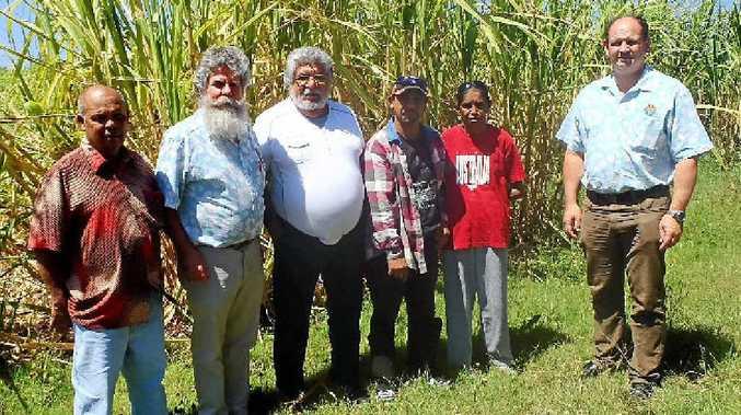 FARMERS' FRIENDS: Russell Kapeen (Kurachee), Allen Bowcock (First Sun Employment), Lance Manton (Bogal Land Council), Thomas Roberts, Janice Gomes and John Lee (First Sun Employment).