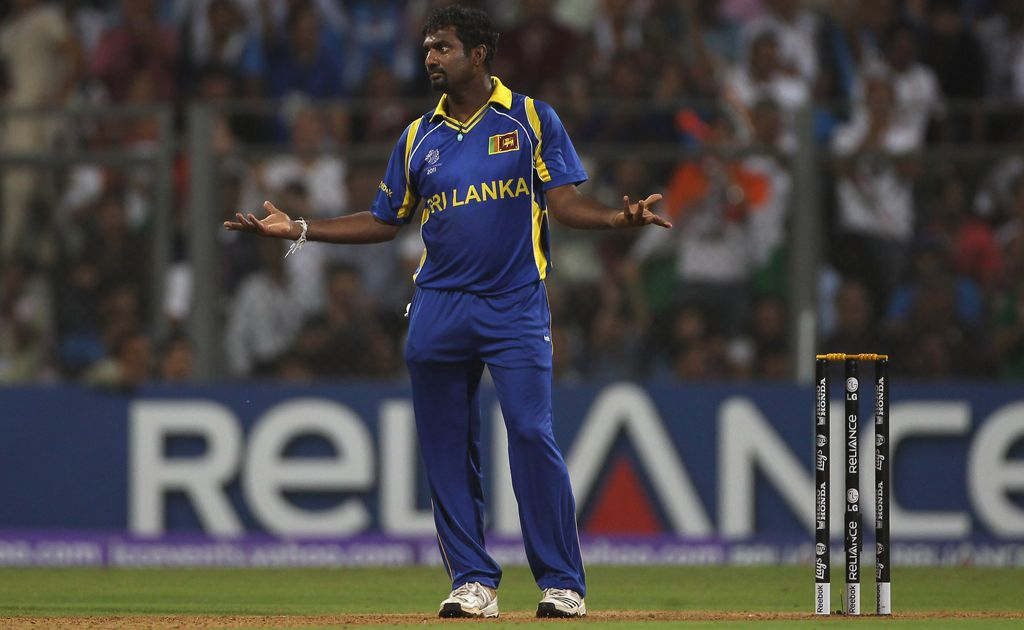 Muttiah Muralitharan of Sri Lanka gestures after a fielding mistake during the 2011 ICC World Cup Final between India and Sri Lanka at the Wankhede Stadium on April 2, 2011 in Mumbai, India.