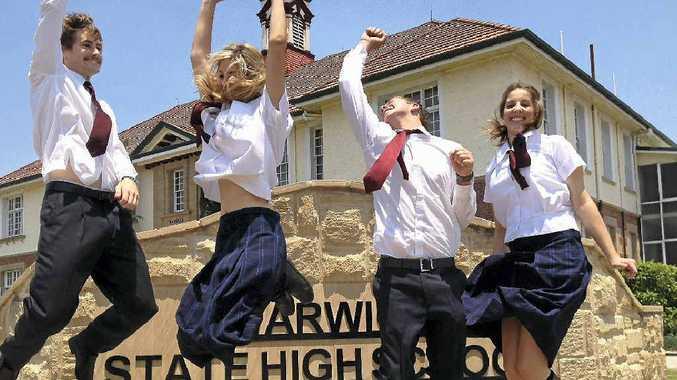 Warwick State School students Jesse McDougall, Jessie Johnson, Hayden Haidley and Katie Johnson will finish high school today.