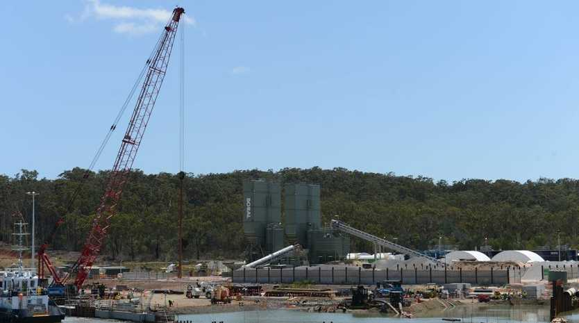 Construction at the GLNG project site on Curtis Island.