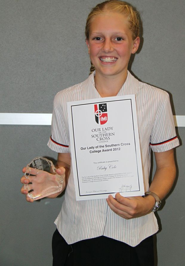 Our Lady of the Southern Cross College award recipient Ruby Cole.
