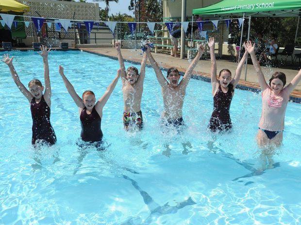 Alissa Lee, Billie Copland, Luke Hughes, Robert Dance, Irene Hartley and Emily Dance enjoy the Howard Pool's 50th birthday celebrations.