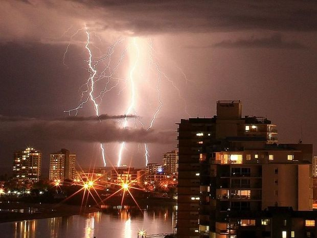 Ian Ward snapped this amazing photo of lightning over central Maroochydore.