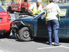 A car travelling on Torquay Rd crashed into a parked car outside Torquay State School on Monday.