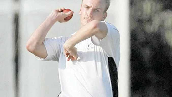 Maroochydore bowler Michael Goodluck in action against Caboolture. He took 2-32 off 10 overs.