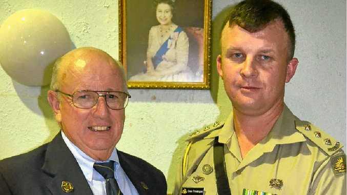 Warwick RSL Sub-branch president John Skinner and Capt Grant Prendergast.