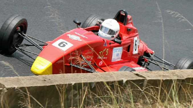 Warwick driver Matt Campbell on the way to a Formula Ford series victory at Morgan Park Raceway on Sunday.