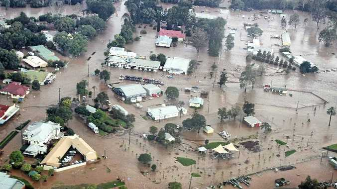 TOWN UNDER: Floodwaters overran Esk during the disaster that hit the south-east in January last year.