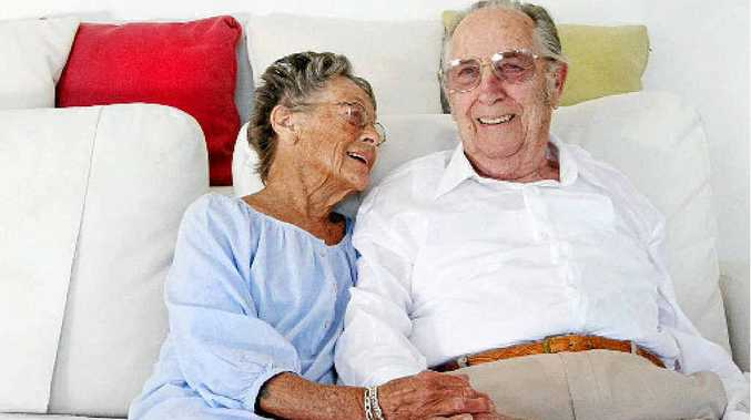 A LIFE WELL LIVED: Changi POW Bill Fitch at home in Kingscliff with wife Muriel.