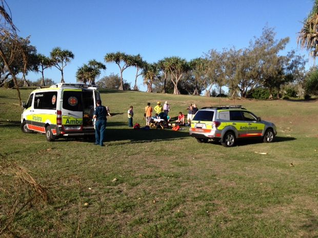 A MALE paraglider suffered a compound fracture in his lower left leg after falling 15 metres at Buddina.