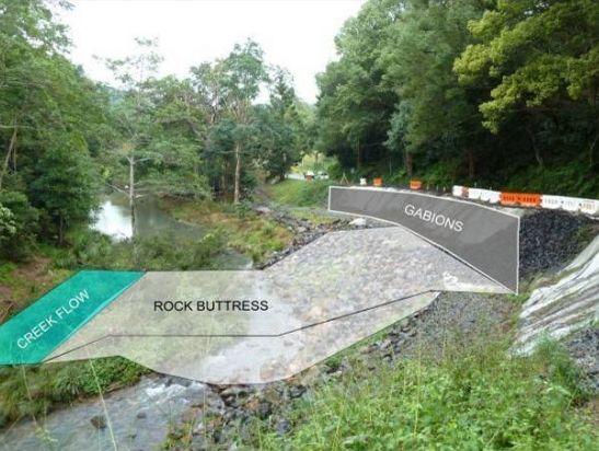 Diagram showing plans to repair Wilsons Creek Rd.