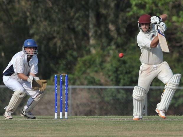 Caboolture's Aaron Phillips hits one towards the covers. Photo: Brett Wortman / Sunshine Coast Daily