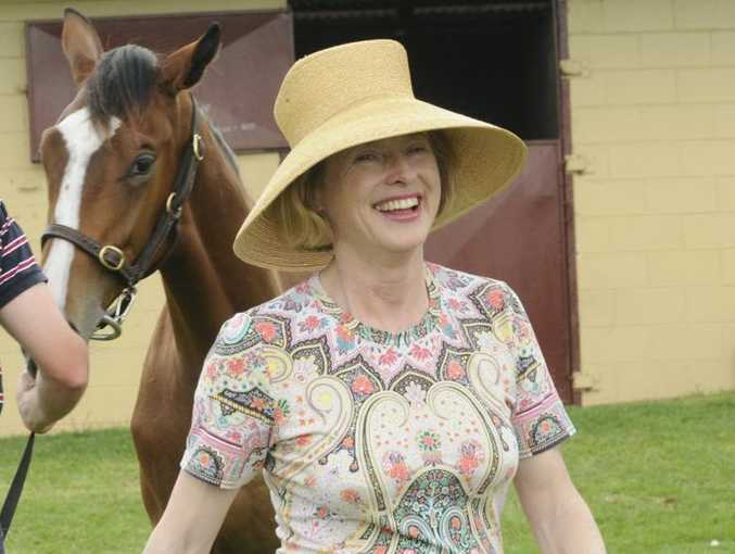 Horse trainer Gai Waterhouse looking at Red Dazzler with Harry McAlpine at Eureka Stud. Gai has been visiting horse studs on the Downs.