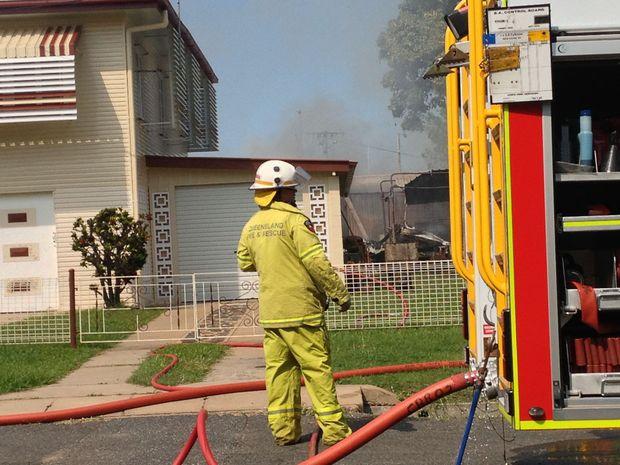 This caravan caught fire in North Rockhampton