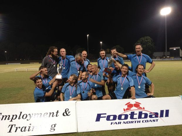 The Eureka Football Club's 6th grade men's division celebrate their grand final win.