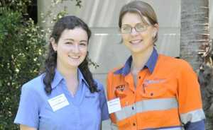 Jacinta Larney and Kaitlyn Carmody at the forum held by a group of CQ University researchers.