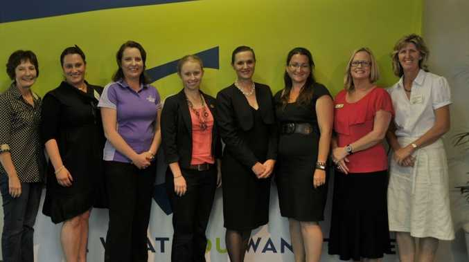 Ass Prof Bobby Harreveld, Alexis Hill, Leanne Hixon, Kate Brand, Caroline Morrissey, Hannah Jolly, Dr Roslyn Cameron and Dr Prue Howard at the forum held by a group of CQ University researchers.