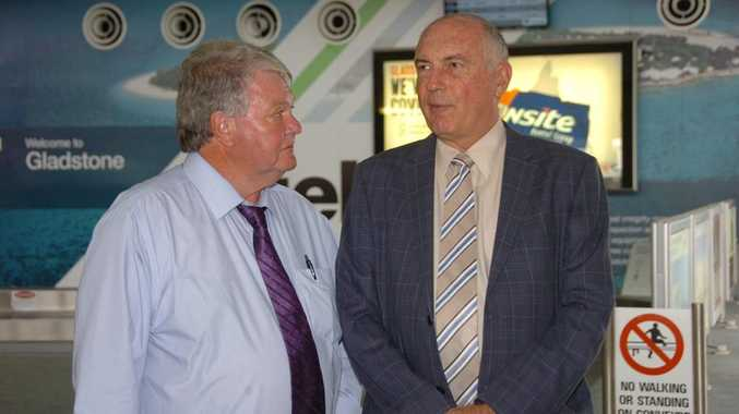 Federal Member for Flynn Ken O'Dowd meets with Federal Nationals leader Warren Truss at Gladstone Airport.